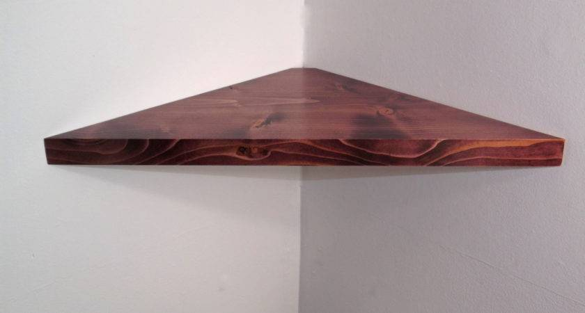 Inch Floating Corner Shelf Black Cherry Stain Handmade