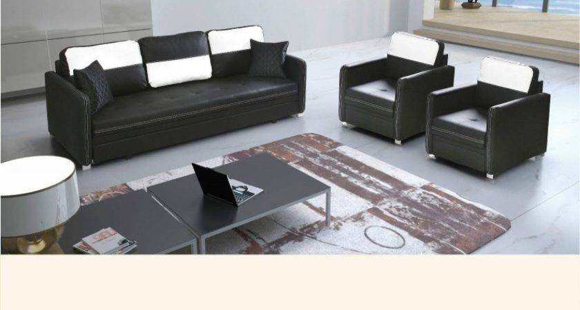 Inco Black White Faux Leather Sofa Bed Armchairs