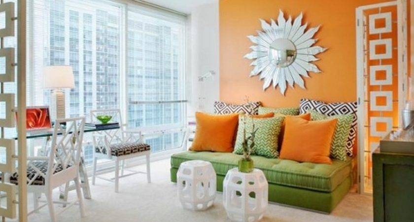 Inspired Orange Wall Green Sofa Living Room Dweef