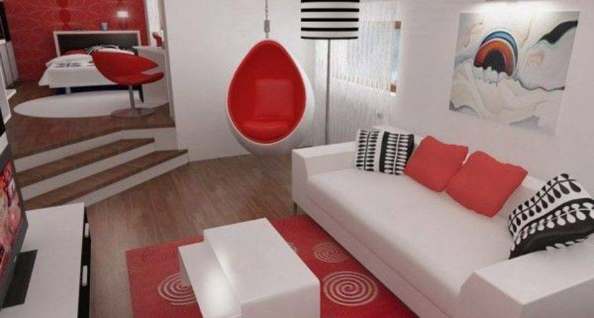 Inspiring Contemporary Bedroom Red Black White
