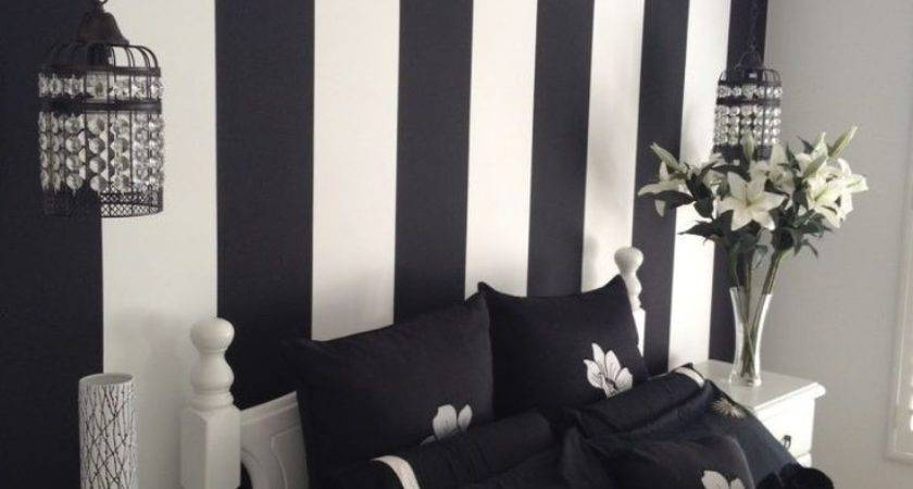 Inspiring Painted Wall Designs Bed Room Black White