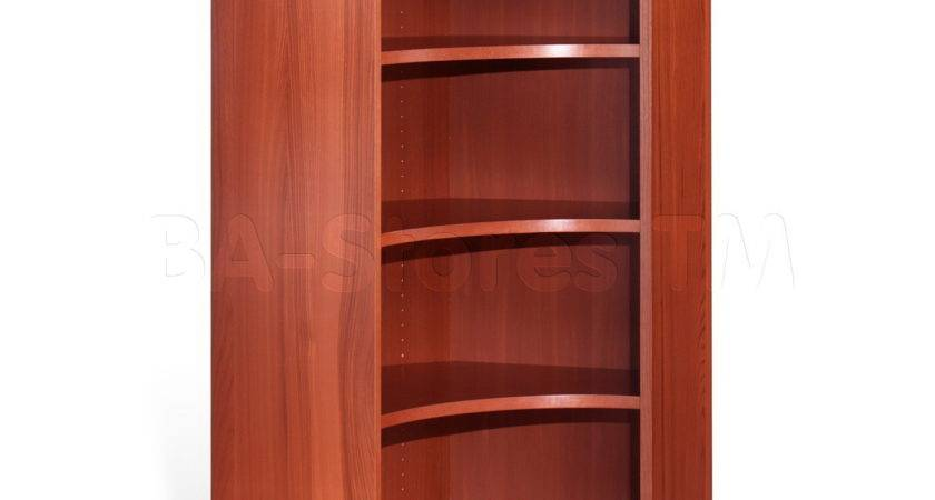 Interior Wood Double Sides Corner Bookcase Elegant