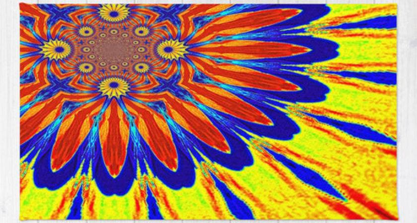 Items Similar Area Rug Primary Colors Modern Flower
