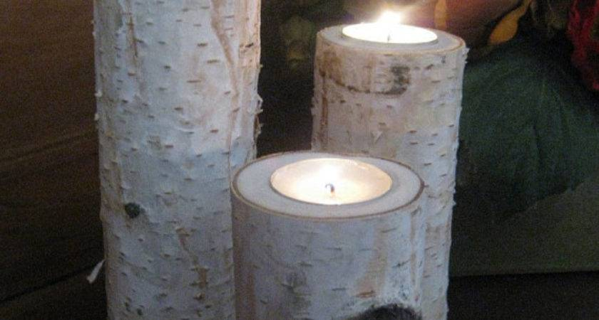 Items Similar Large Birch Bark Log Tea Light Candle