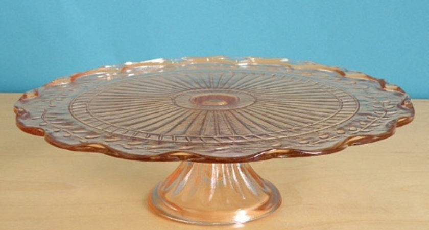Items Similar Peachy Pink Depression Glass Cake Stand