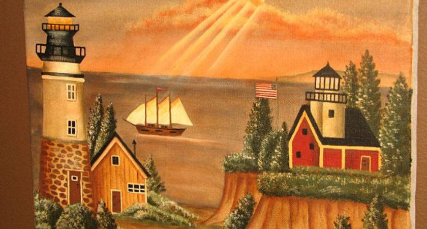 Items Similar Safe Harbor Primitive Style Painting