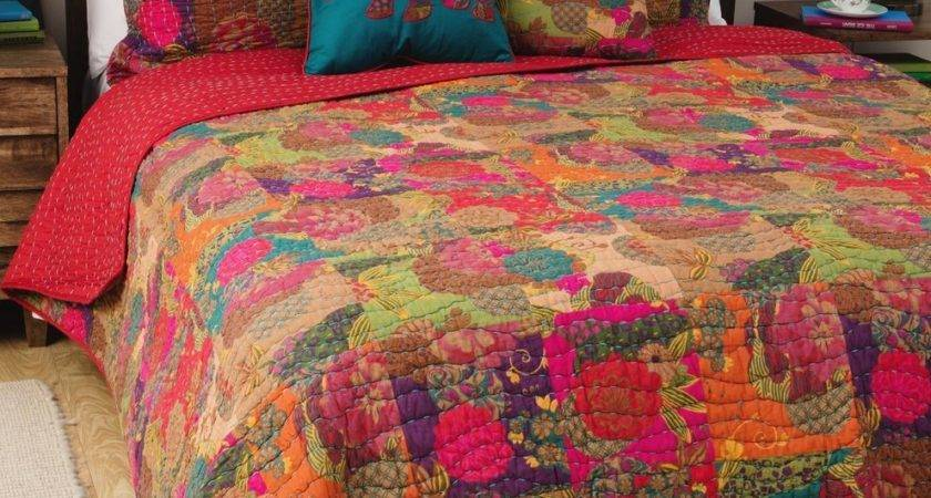 Jewel Red King Quilt Set Moroccan Boho Floral Tone