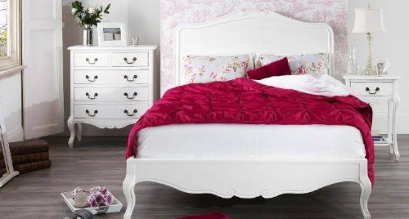 Juliette Shabby Chic White Double Bed Bedroom Suite