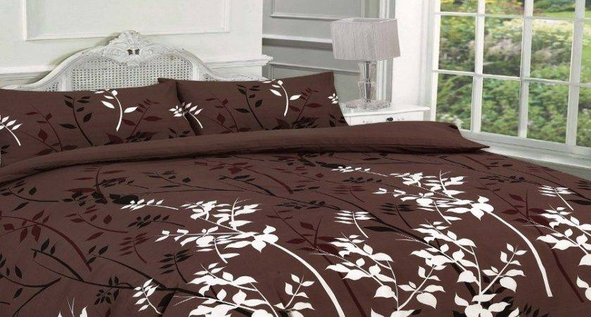 Kaylee Floral Brown Duvet Quilt Cover Bedding Set Linen