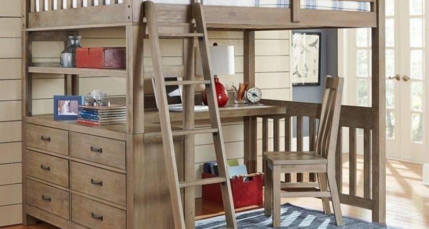 Kids Highlands Loft Bed Desk Shelf