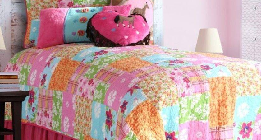 Kids Twin Set Girls Pink Cowgirl Quilt Western Horse