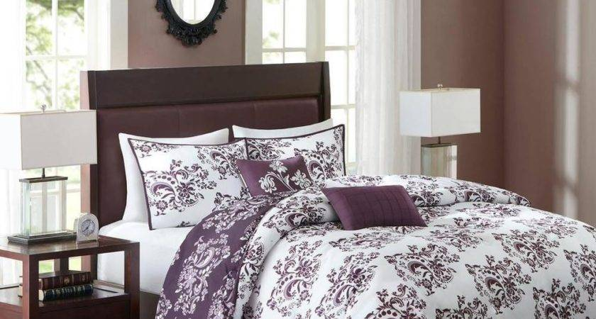 King Comforter Bedding Set Deep Purple White Floral