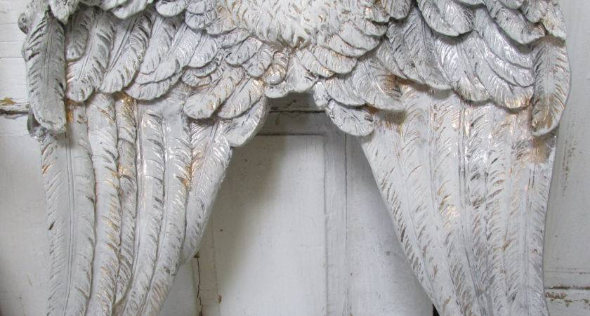 Large Angel Wings Wall Sculpture Silvery Pewter Gold Hand