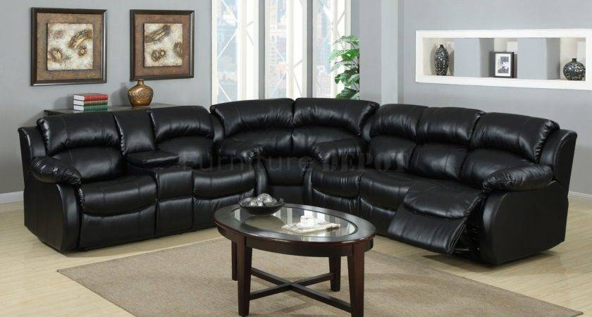 Large Bold Black Leather Sectional Recliner Sofa Oval