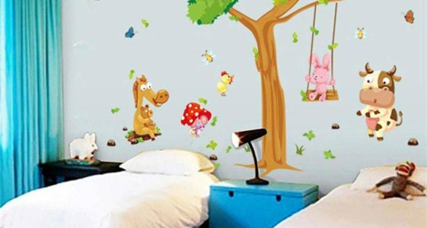 Large Tree Animal Zoo Horse Butterfly Cartoon Kids