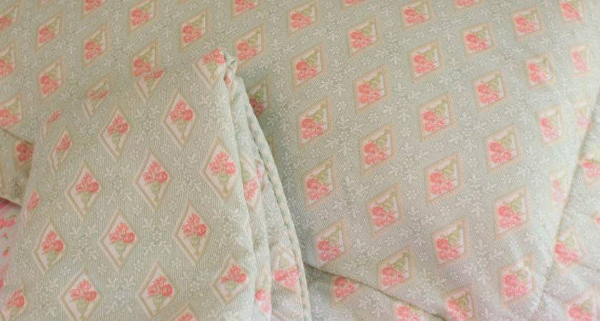 Laura Ashley Pair Pillow Shams Diamond Pattern Green