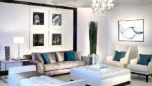 Lavish Black White Living Room Posh Blue Accents