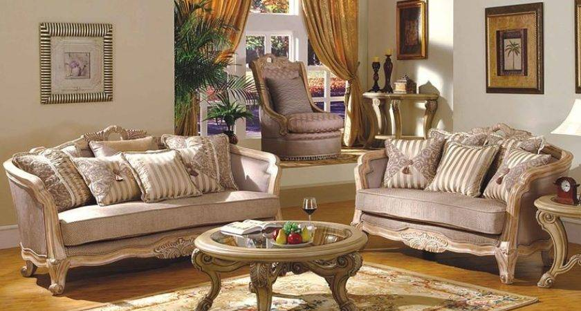 Leander Formal Living Room Set Antique White Wash