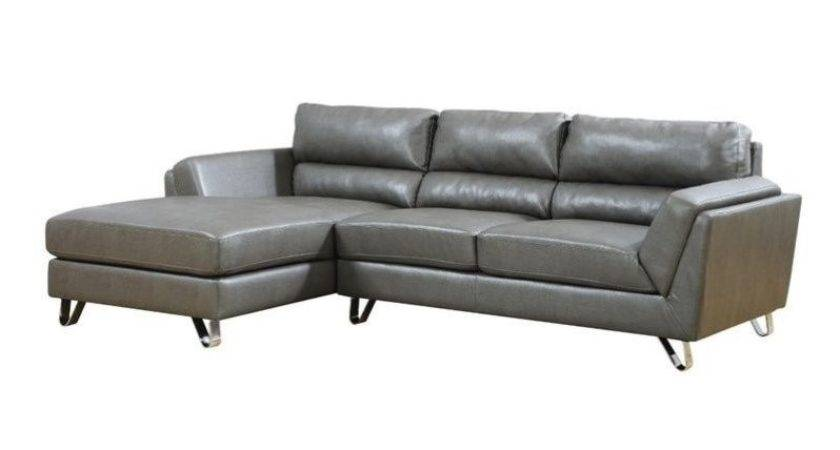 Leather Sofa Lounger Charcoal Gray Padded Seat