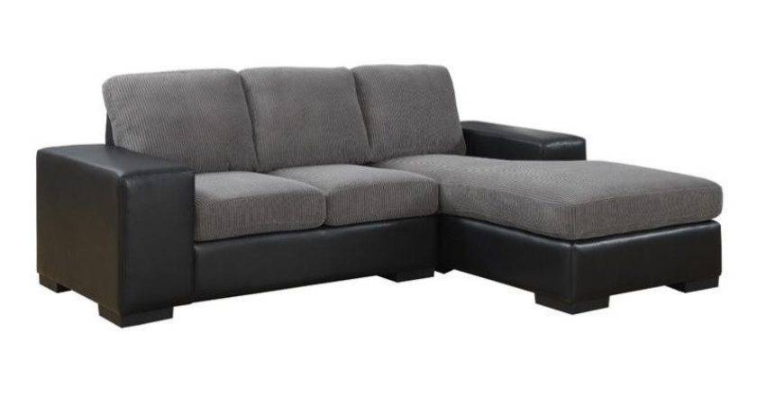 Leather Sofa Lounger Charcoal Gray