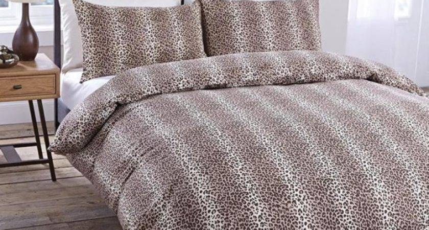 Leopard Print Brown Duvet Cover Pillowcase Set