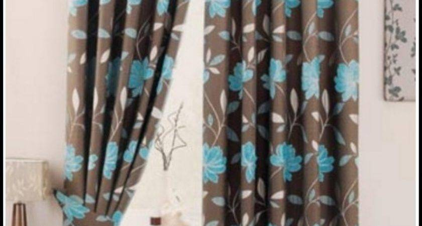 Light Blue Chocolate Brown Curtains