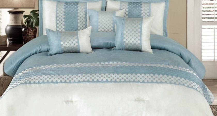 Light Blue White Bedding Displaying
