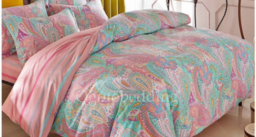 Light Teal Pretty Patterned Quality Teen Bedding Sets