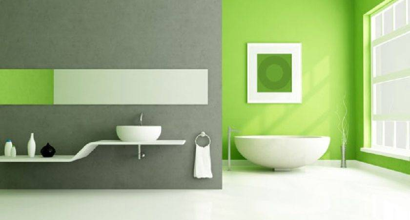 Lime Green Accents Wall Paint Modern Bathroom Idea