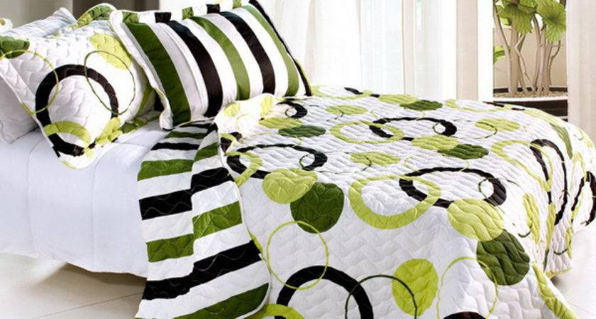 Lime Green Black White Teen Girl Bedding Queen Quilt