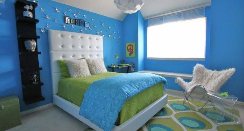 Lime Green Blue Modern Bedroom Decorating Ideas