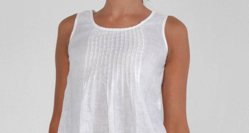 Linen Tank Top Pleats White Shop Claudio
