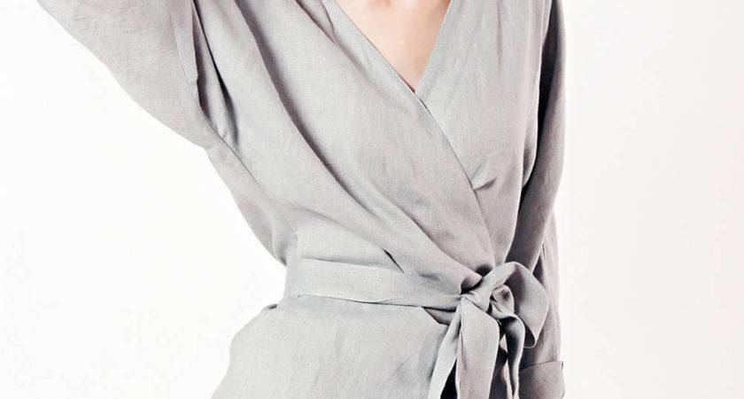 Linen Wrap Top Grey Tops Woman
