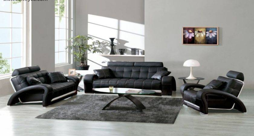 Living Room Archaicfair Black Leather Sofa