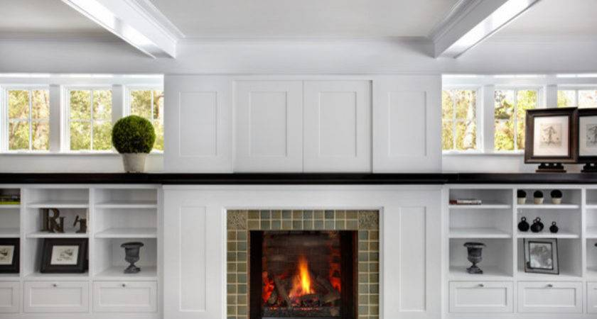 Living Room Cabinets Hidden Panel Traditional