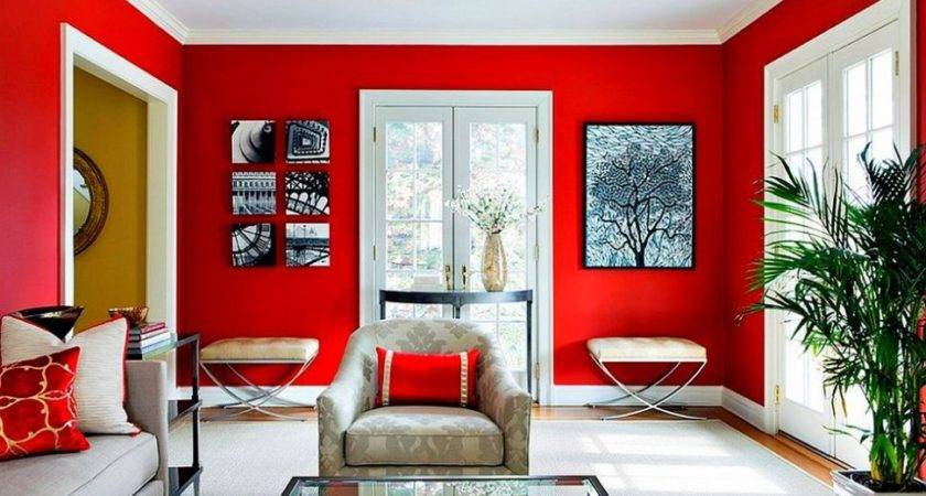 Living Room Cool Dark Red Walls
