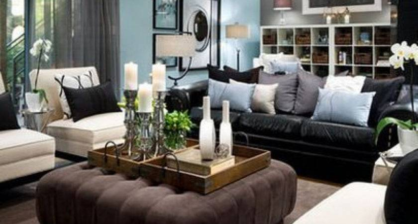 Living Room Design Black Leather Sofa Best Couch