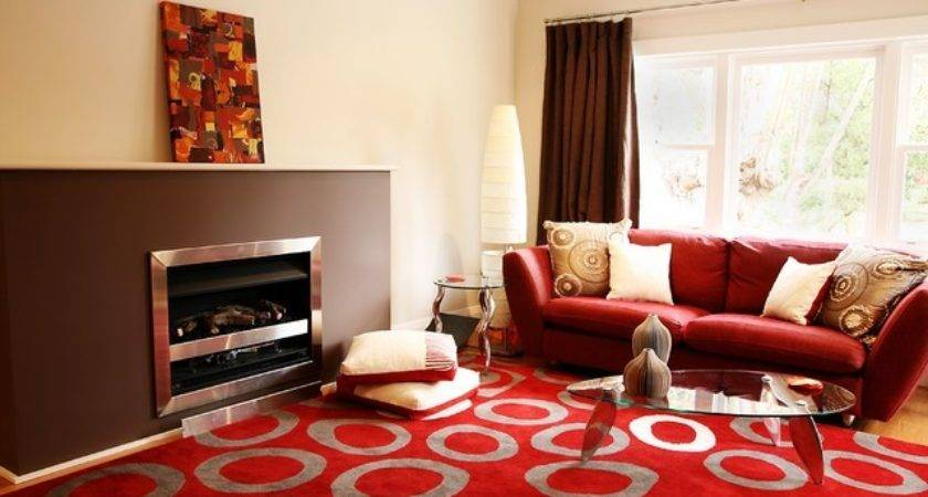 Living Room Design Ideas Brown Beige Red Accent