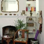 Living Room Fireplace Alcove Shelves Design