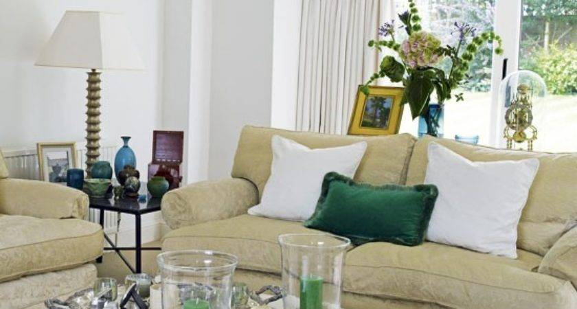 Living Room Green Accents Housetohome