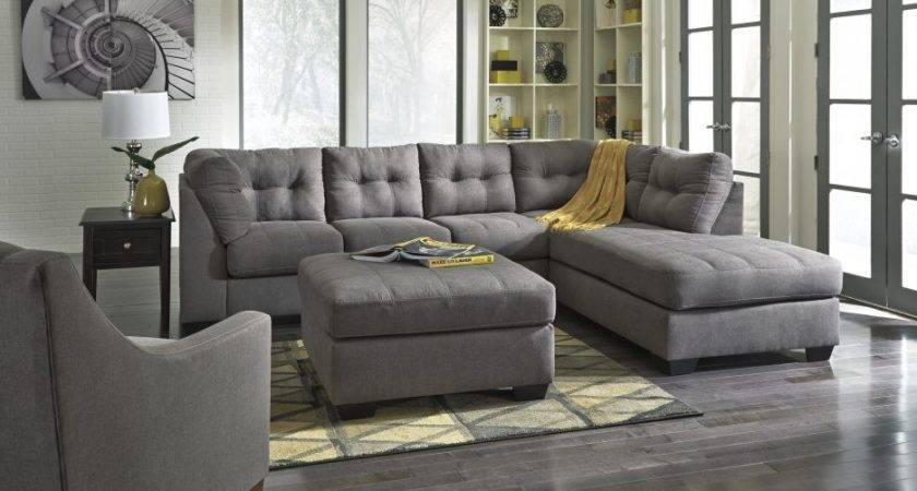 Living Room Grey Sectional Sofa Chaise Lounge Left