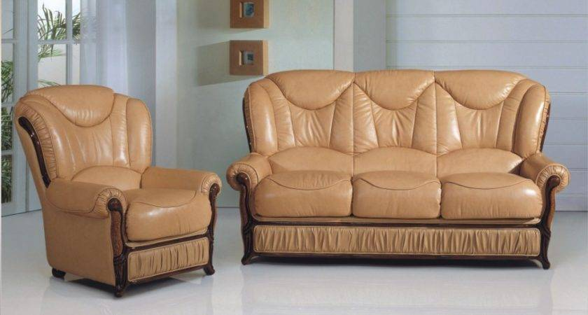 Living Room Set Half Leather Beige Buy