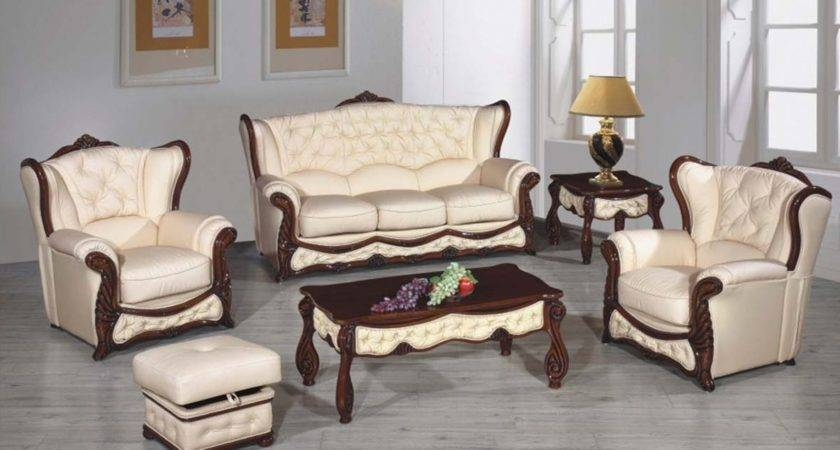 Living Room Set Leather Beige Buy