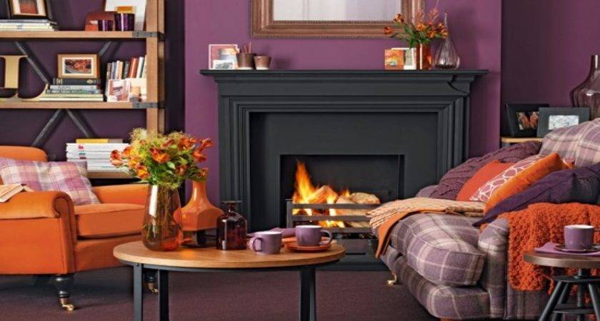 Living Room Tan Orange Purple