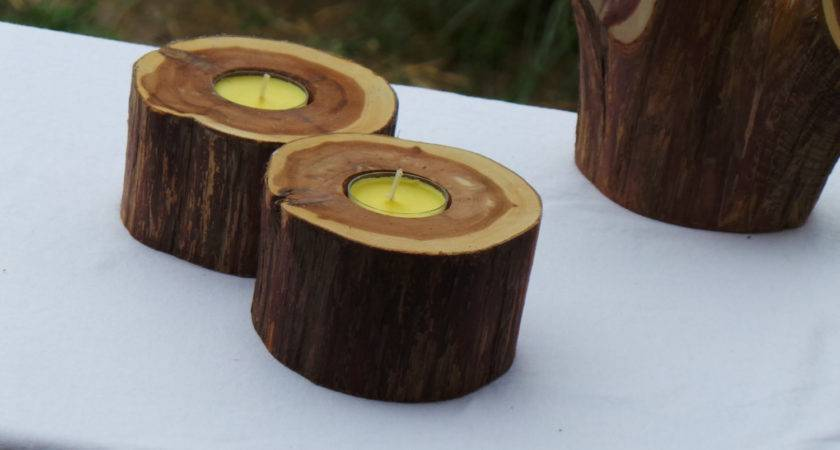 Log Candle Holders Rustic Home Decor Valentines Day Gift