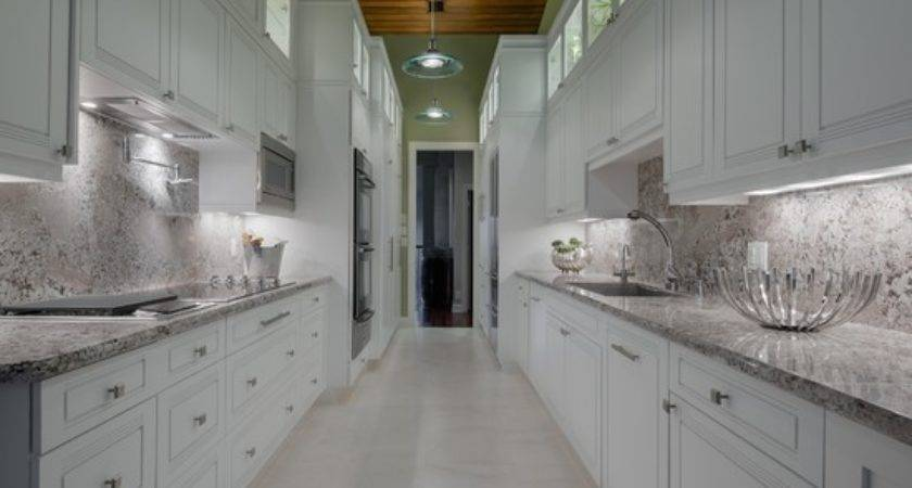 Long White Galley Kitchen Beautiful Homes Design