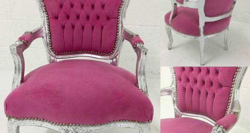 Louis French Shabby Chic Lounge Chair Pink Fabric