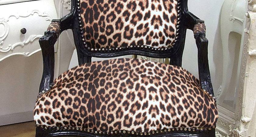 Louis French Shabby Chic Lounge Dining Chair Leopard Print