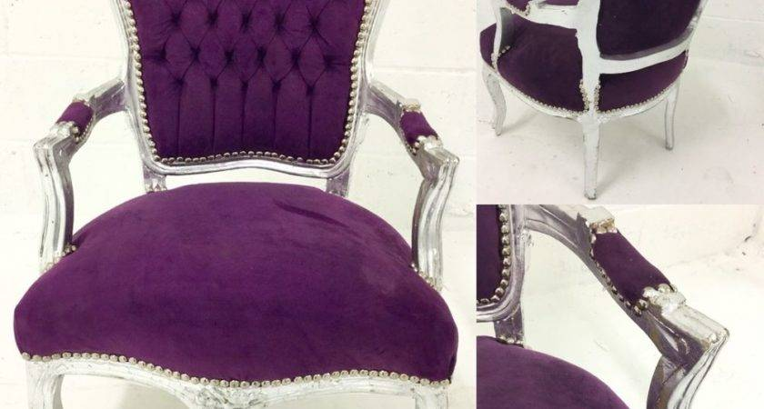 Louis French Shabby Chic Lounge Dining Chair Purple Velvet