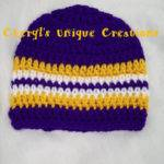 Louisiana Team Colors Purple Gold White Hand Crocheted